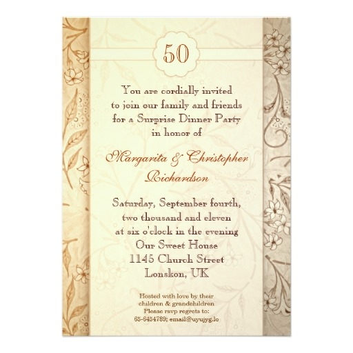50 golden wedding anniversary invitation card 50th Golden Wedding Anniversary Invitations