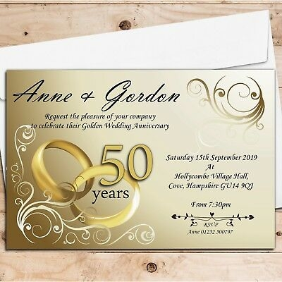 50 personalised golden 50th wedding anniversary invitations invites n1 ebay 50th Golden Wedding Anniversary Invitations