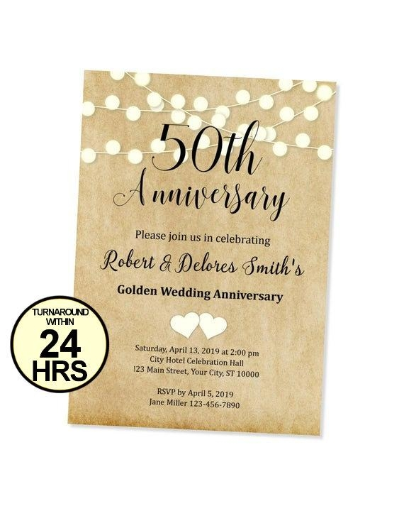 50th anniversary invitation string of lights anniversary invite 50th anniversary 25th anniversary golden wedding anniversary invitation 50th Golden Wedding Anniversary Invitations