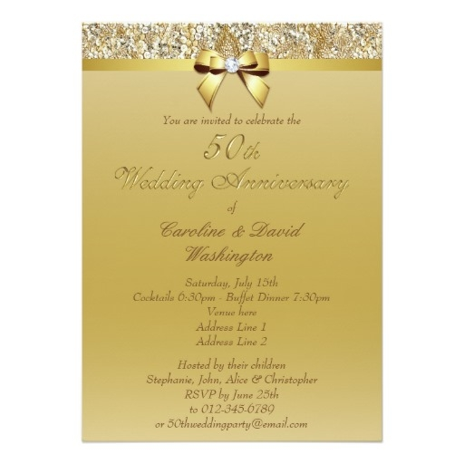 50th gold wedding anniversary faux sequins and bow invitation card 50th Golden Wedding Anniversary Invitations