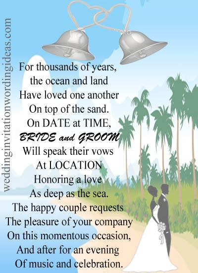 beach wedding invitation wording how to write Beach Wedding Invite Wording