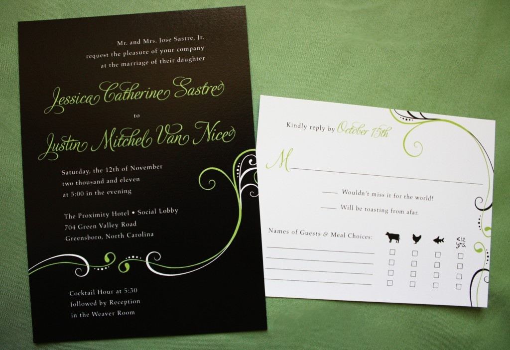black invitations with lime green and white text and scroll Lime Green And Black Wedding Invitations