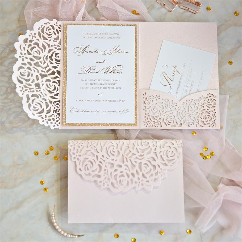 blush pink and gold rose backer and lace pocket wedding Lace Design Wedding Invitations