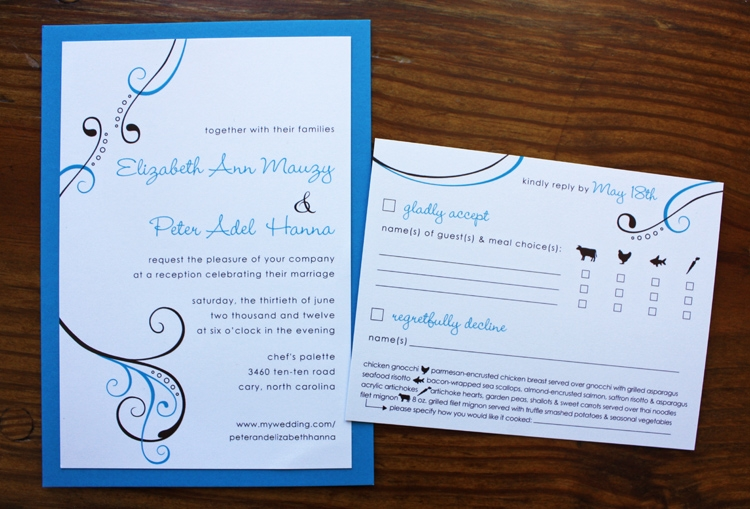 bright blue dark brown simple swirl circles wedding Brown And Blue Wedding Invitations