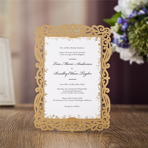 brown laser cut wedding invitations with inserted cards lc032 Lazer Cut Wedding Invitations
