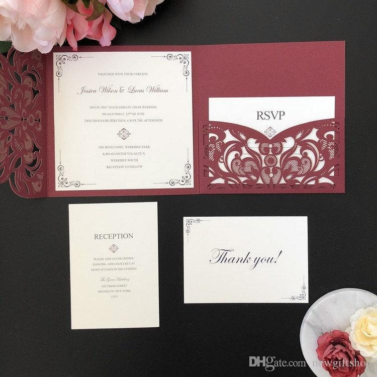 burgundy shimmer square laser cut wedding invitation diy wedding party invites with rsvp card free printing custom ba shower invitations diy wedding Dyi Wedding Invites