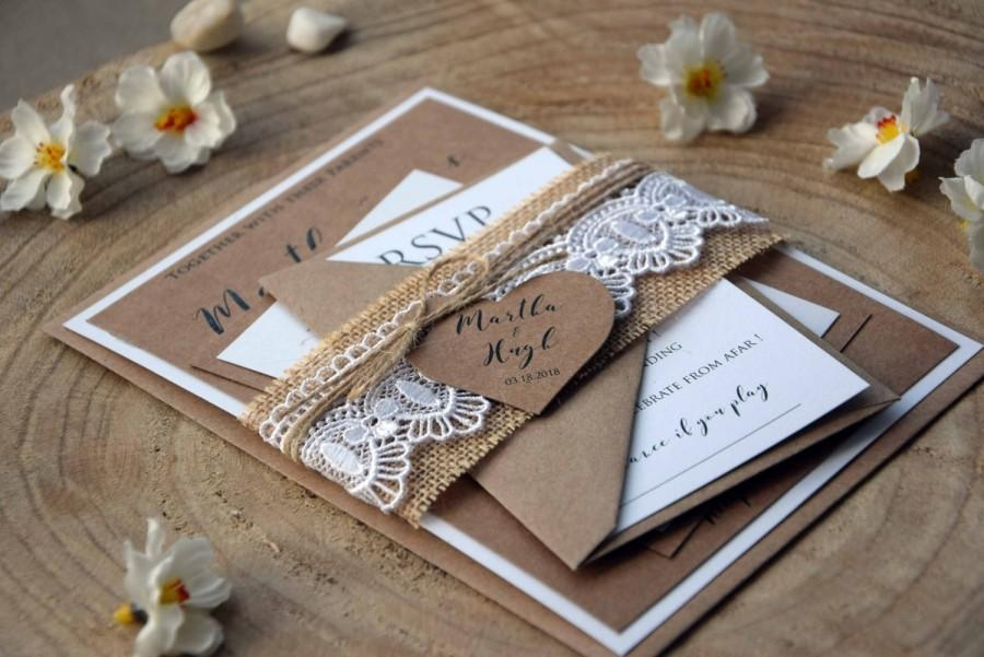 burlap and lace wedding invitation kit personalized wedding Personalized Wedding Invitations With Pictures