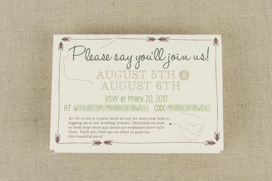 campy arrow emblem campy trifold wedding invitation with online rsvp with envelope rustic camp trifold wedding invitation Wedding Invite Online