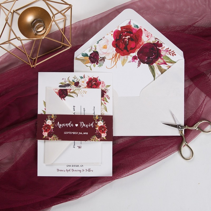 cheap boho burgundy floral and feather wedding invitation with belly band swpi012 stylishwedd Wedding Invitations Photos