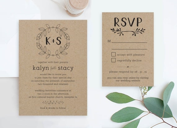 cheap wedding invites and rsvp set printables rustic wedding invitations suite diy invitation packages country wedding cards online pdf Cheap Wedding Invite