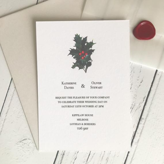 christmas wedding invitation sample a simple invitation with vintage holly illustration vellum wrap red wax seal Christmas Wedding Invitation Wording