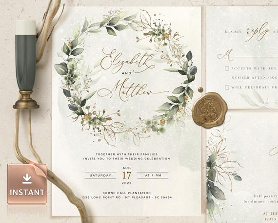 cleo wedding invitation template boho wedding invite template wedding invitation invitation template download faux gold invite Wedding Invitation Templets