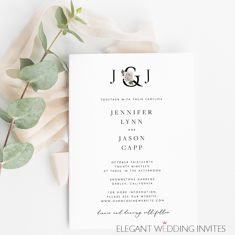 coming together modern chic wedding invitation with initials Wedding Invites Modern