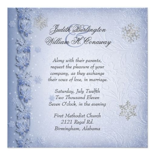 crystal blue snowflakes winter wedding invitation zazzle Christmas Wedding Invitation Wording