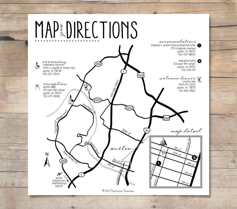 custom designed wedding map directions riverbend church Wedding Invitation Maps