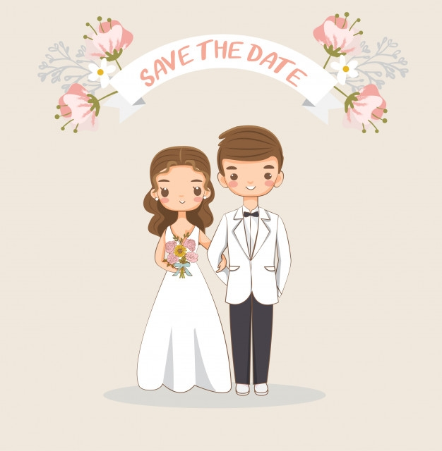 cute bride and groom for wedding invitations card premium Wedding Invitation With Pictures Of Bride And Groom