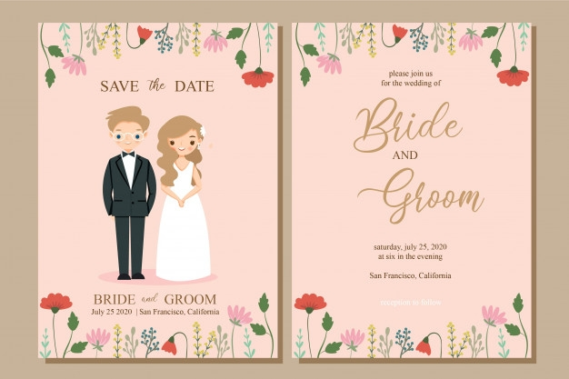 cute bride and groom with flower wedding invitation card Wedding Invitation With Pictures Of Bride And Groom