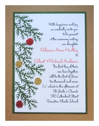 diy christmas wedding invitations Christmas Wedding Invitation Wording
