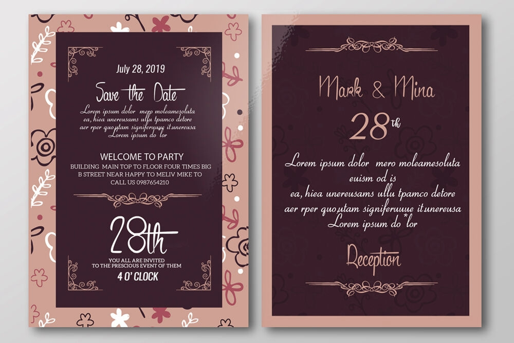 double sided save the date wedding invitation card Two Sided Wedding Invitations