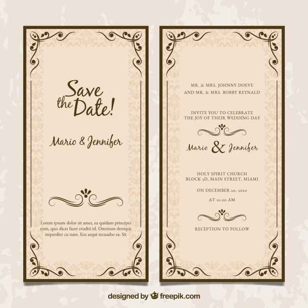 download free two sided wedding invitation in vintage style Two Sided Wedding Invitations
