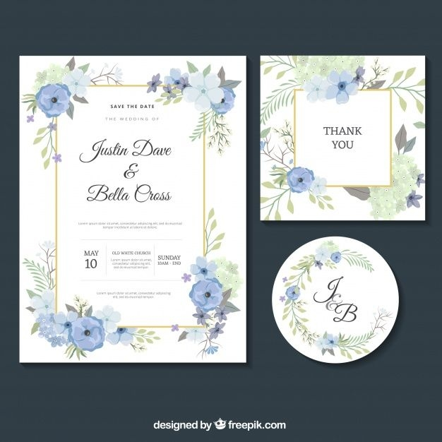 download set of nice wedding invitations for free floral Nice Wedding Invitation