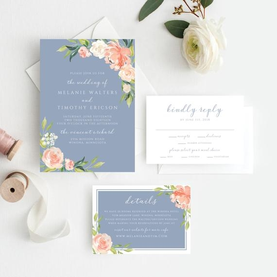 dusty blue wedding invitations dusty blue wedding invitation invitation template spring wedding pink blush coral blue floral 109 Pink And Blue Wedding Invitations