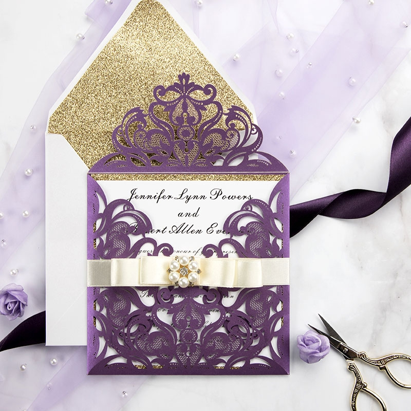 eggplant purple laser cut wedding invitation cards with gold glittery liners pwil055 pro wedding invites Wedding Invites Purple