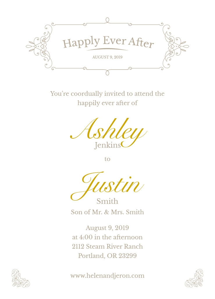 elegance wedding invite 5x7 flat card Custom Printing Wedding Invitations