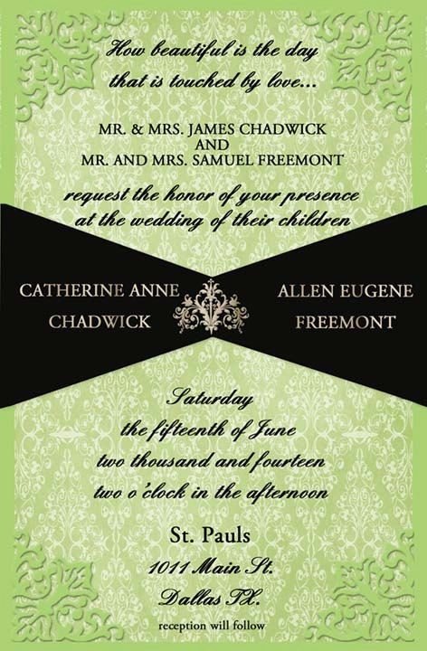 elegant wedding invitation in lime green and black lime Lime Green And Black Wedding Invitations