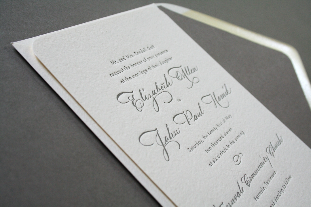 elizabeth johns classic calligraphy wedding invitations Best Letterpress Wedding Invitations