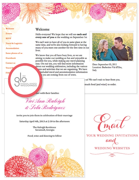 email wedding invitations and organize your wedding with glo E Invites Wedding