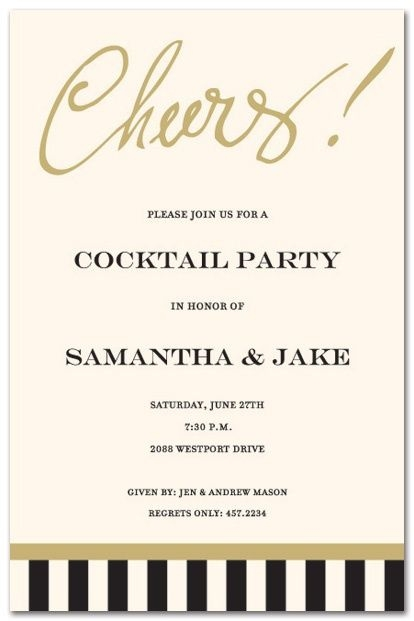 engagement party invite for cocktail party cocktail party Cocktail Wedding Invitations