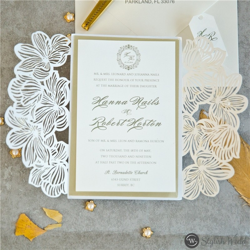 exquisite flower laser cut wedding invitations with matt champagne backers and tags swws105 stylishwedd Lazer Cut Wedding Invitations