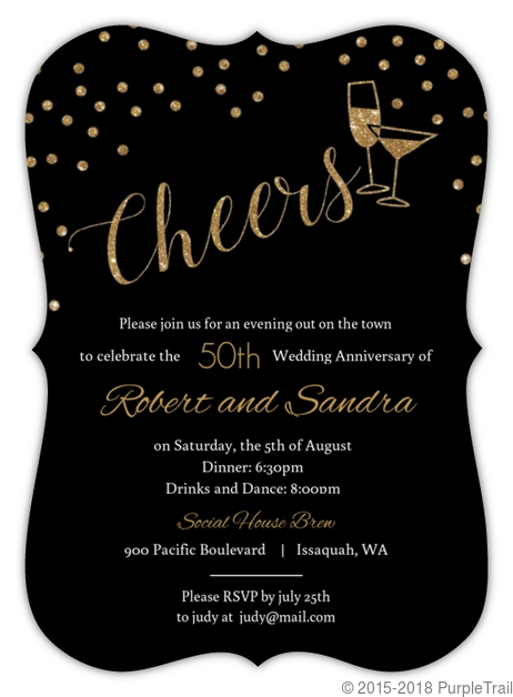 faux gold glitter cheers 50th wedding anniversary invitation 50th Wedding Anniversary Photo Invitations
