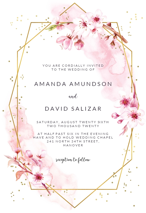 floral sakura wedding invitation template free Printable Wedding Invite