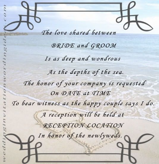 free beach wedding invitation wordings samples beach Wedding Invitation Poems