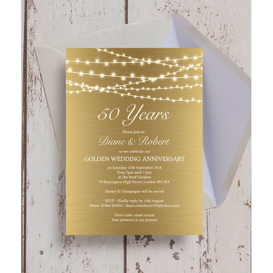 gold fairy lights 50th golden wedding anniversary invitation 50th Golden Wedding Anniversary Invitations