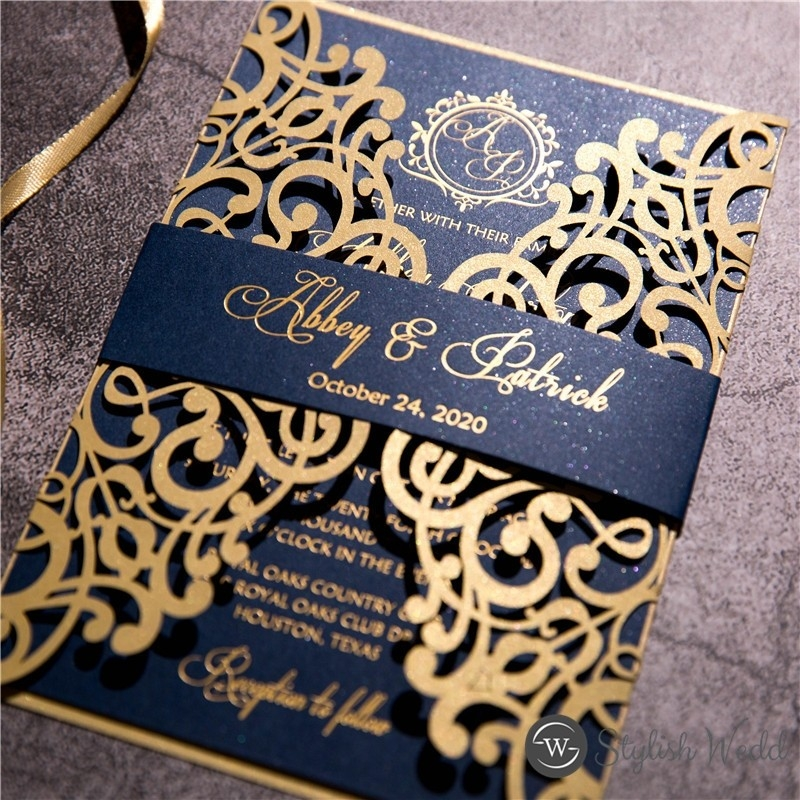 gold laser cut wedding invitation with gold hot foil printed on navy blue cardstock swws123 stylishwedd Wedding Invitation Printing Company