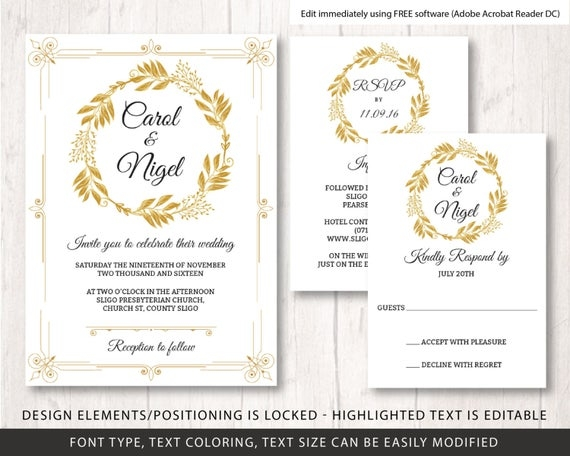 gold wedding invite template wedding diy wedding invite template printable wedding invitation set gold wedding invitation template Wedding Invitation Email Template