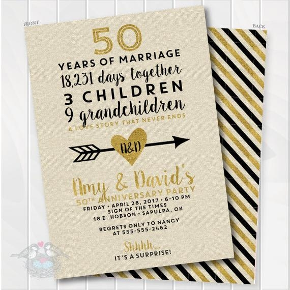 golden wedding anniversary invitation 50th anniversary invitation fiftieth wedding invite birthday invite printable digital file 4001 50th Golden Wedding Anniversary Invitations