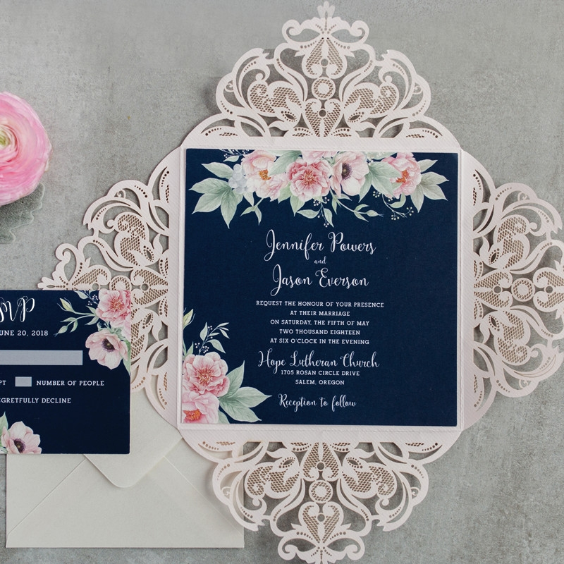 gorgeous navy blue and blush pink floral watercolor wedding Pink And Blue Wedding Invitations