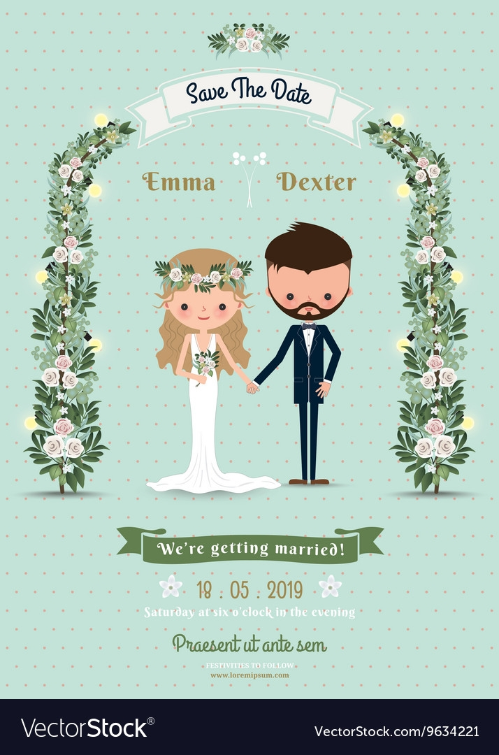 hipster wedding invitation card bride groom Wedding Invitation With Pictures Of Bride And Groom