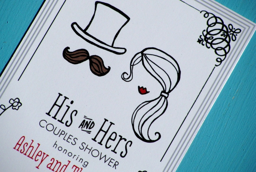 his and hers illustrated wedding couples shower invites His And Hers Wedding Invitations