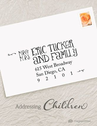 how to properly address wedding invites to include children Wedding Invitations Address