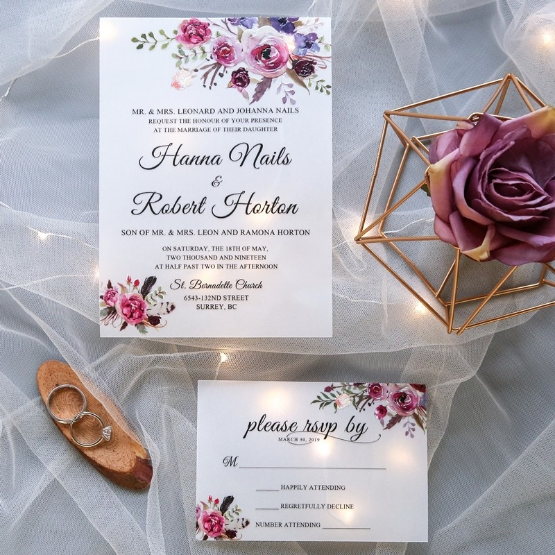 jeans bouquet pink and purple floral uv printed wedding invitation on vellum paper swuv011 as low as 137 stylishwedd Printing Wedding Invites