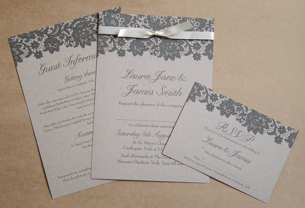 kraft paper wedding invitation with black lace design Lace Design Wedding Invitations
