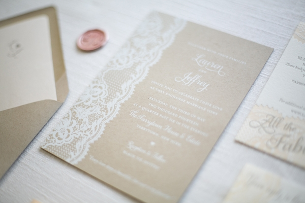 lace and kraft paper wedding invitations Paper Lace Wedding Invitations