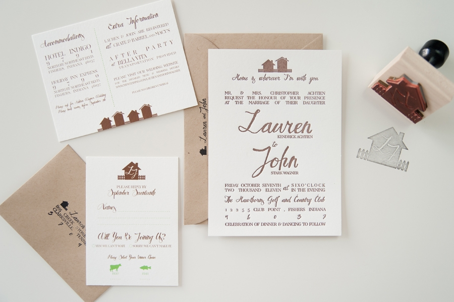 lauren johns rustic home letterpress wedding invitations Best Letterpress Wedding Invitations