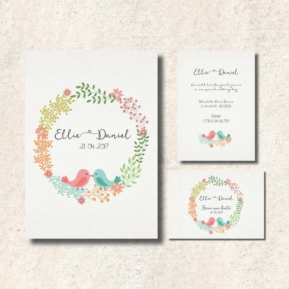 love birds wedding invitation set double sided invitation and save the date sold together or separately Love Birds Wedding Invitation