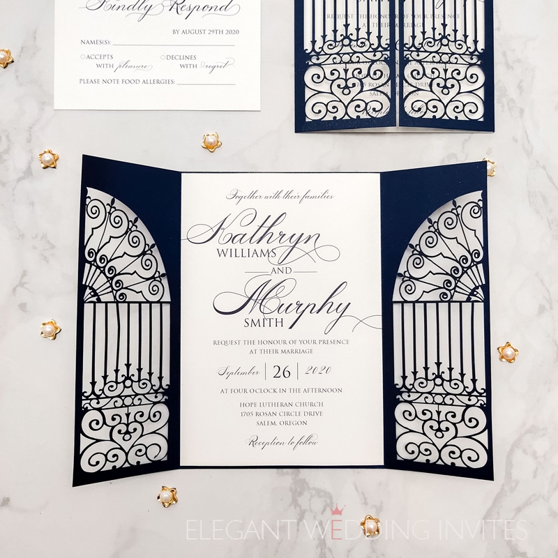 modern navy blue gate folded laser cut wedding invitations Wedding Invitations Photos